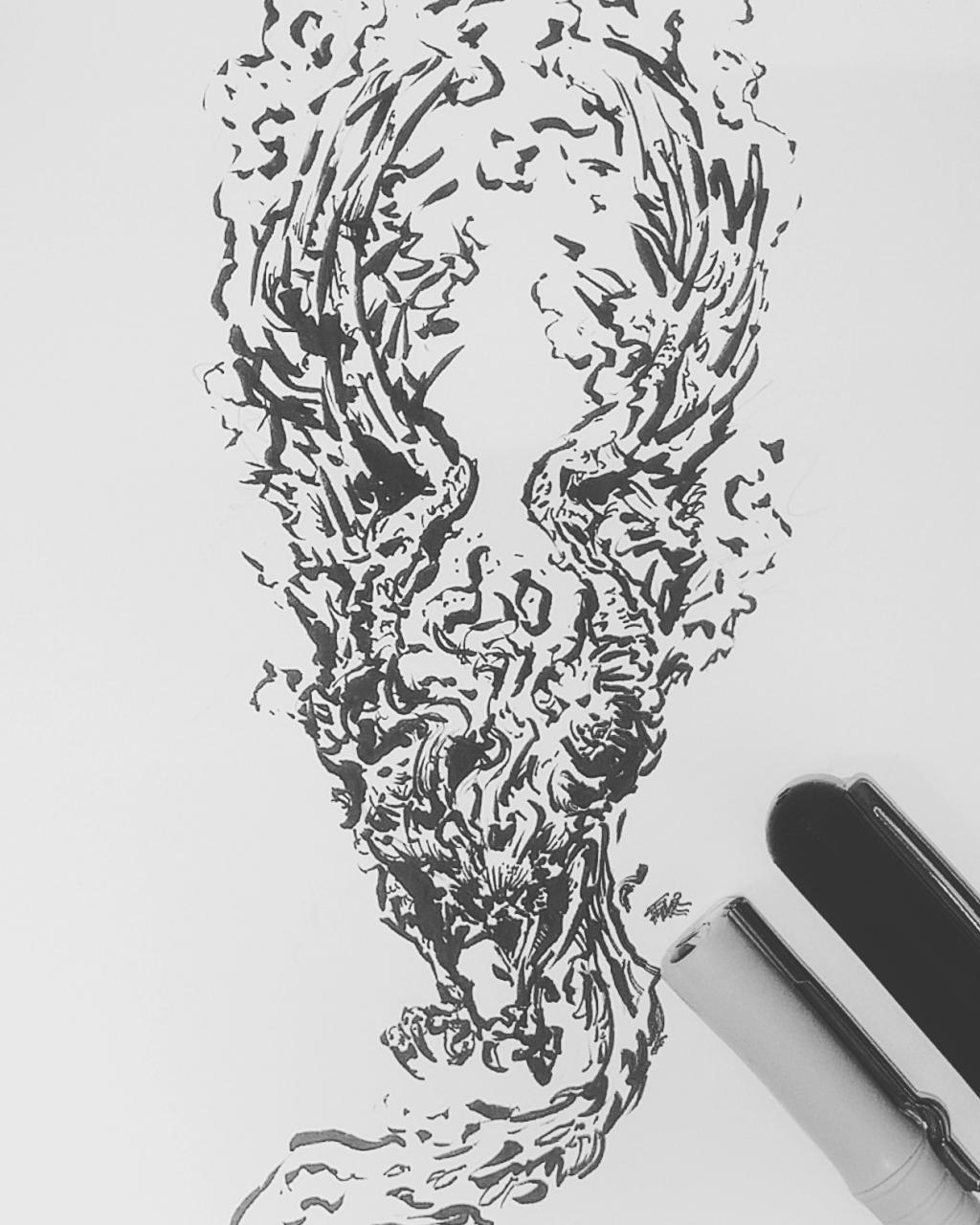 Finished a phoenix tattoo design on a whim , criticism very very welcome