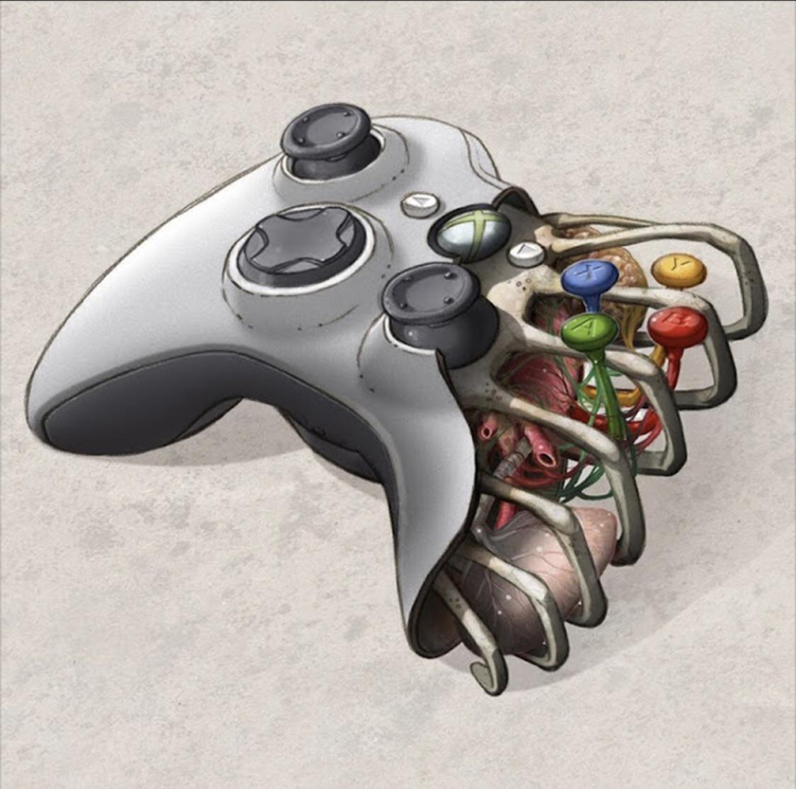 This picture was used in an ad on FB, but I thought it would make for a dope tattoo for hardcore gamers out there.