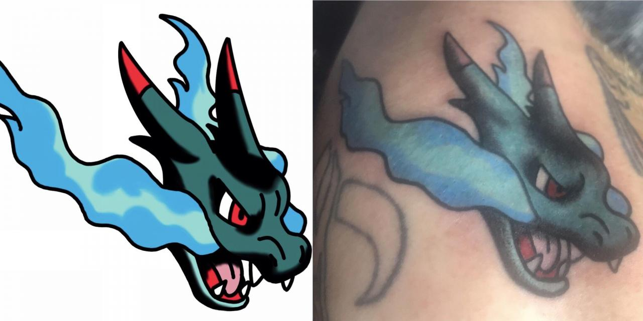 My attempt at trying to make American traditional shiny mega charizard pin head