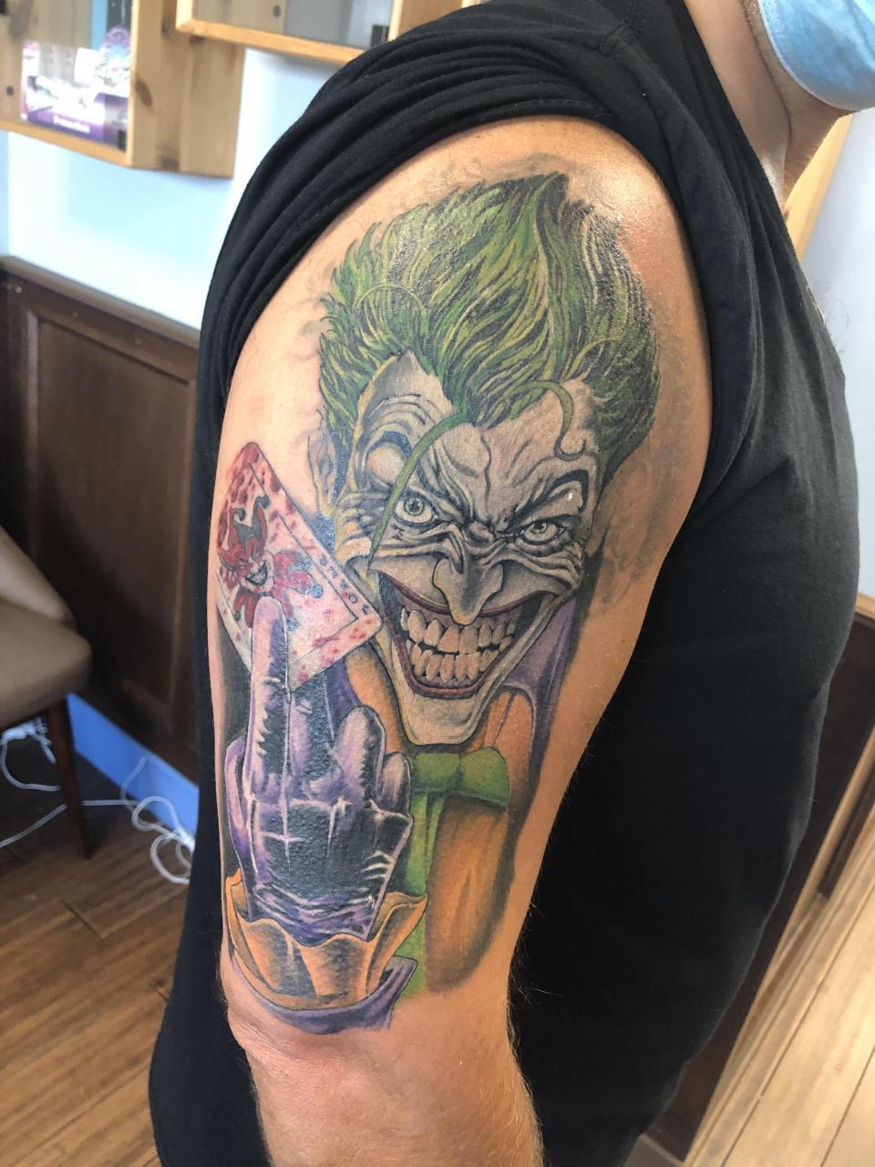 Joker tattoo. Comics version