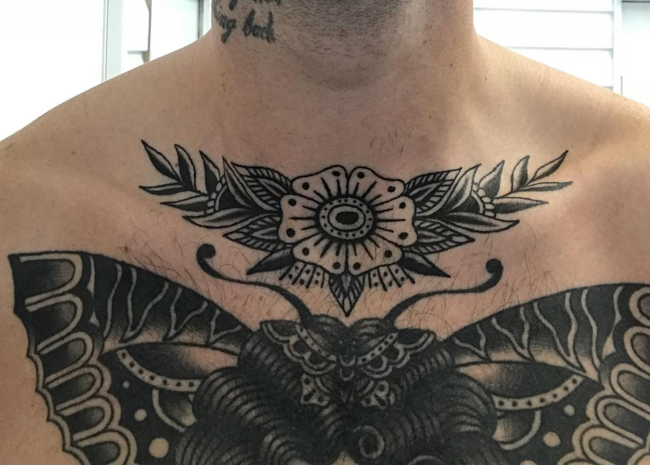Added this flower above my chest piece - Both done by Stephane Noel, 1988 Tattoo studio Quebec.