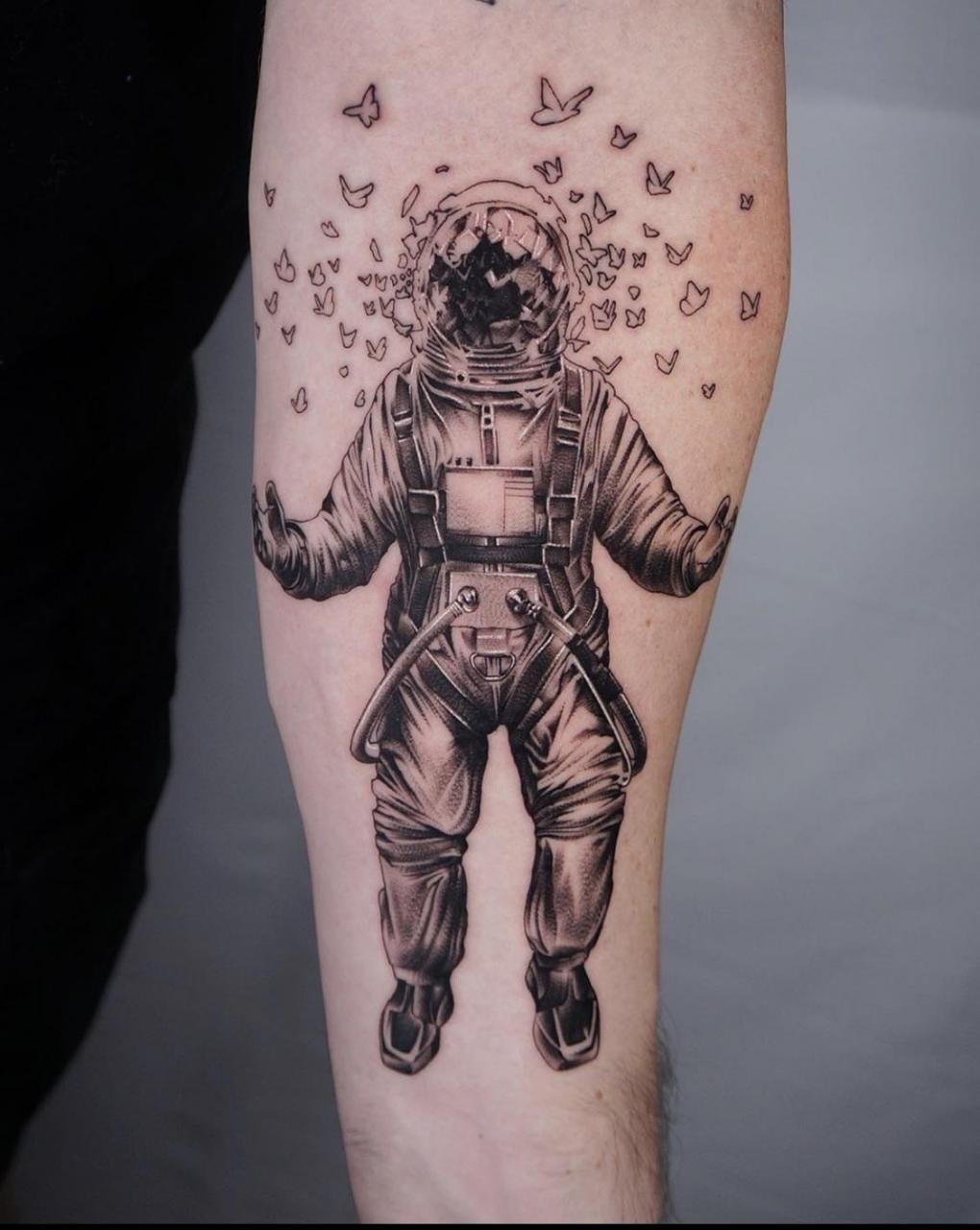 Astronaut with exploding face mask and butterflies Work In Progress. Artist Josh Lucero, Love n Hate Tattoo Studio. Lakewood, CO.