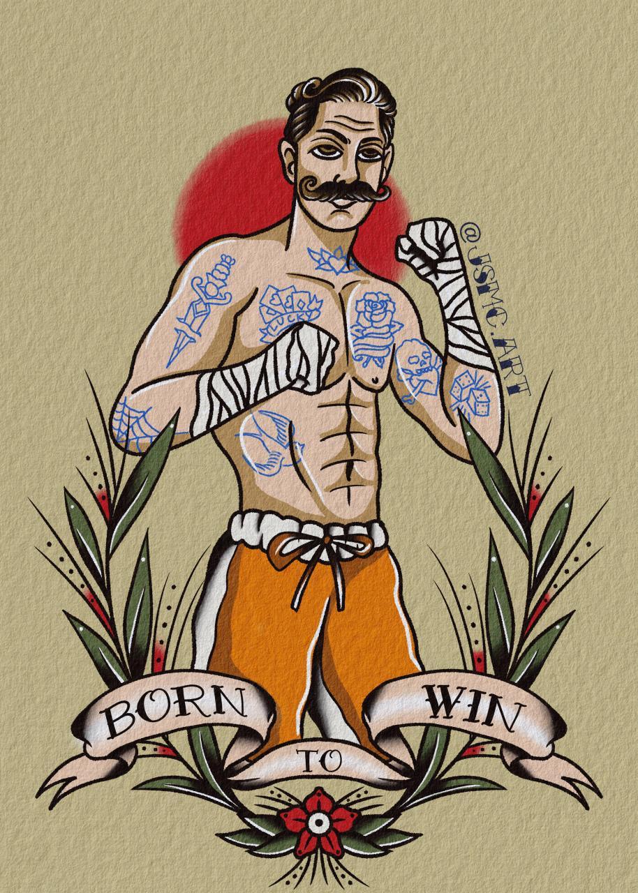 Born To Win Fighter tattoo design!