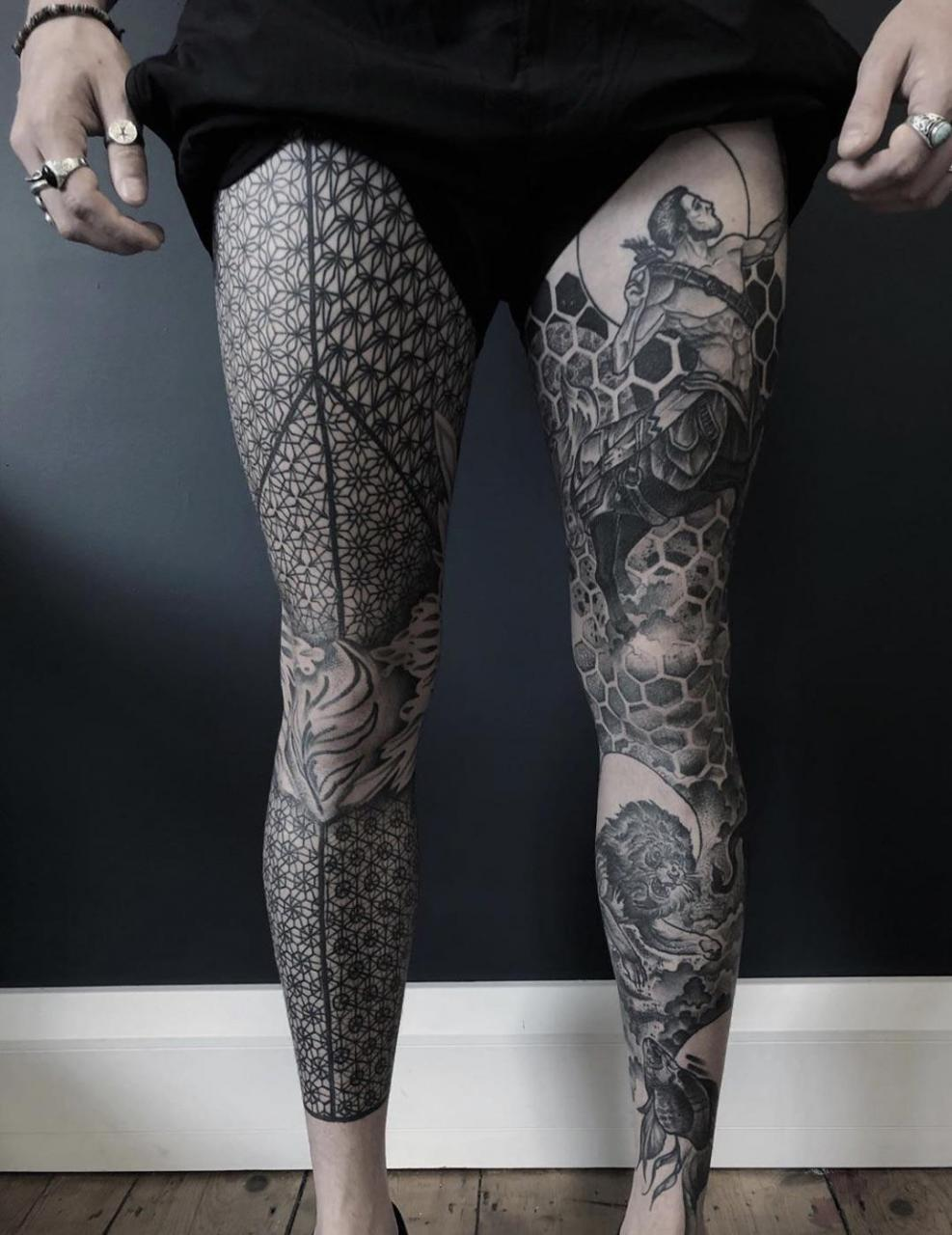 Both legs healed from 2 years ago, done at The Hidden Tannery in Brighton, UK.