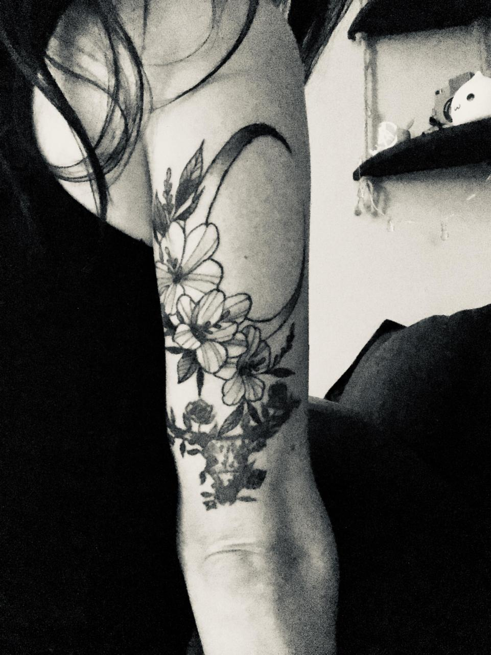 Added a crescent moon and flowers to my arm :) by Kyle @ Sacred Harp in Salem, MA