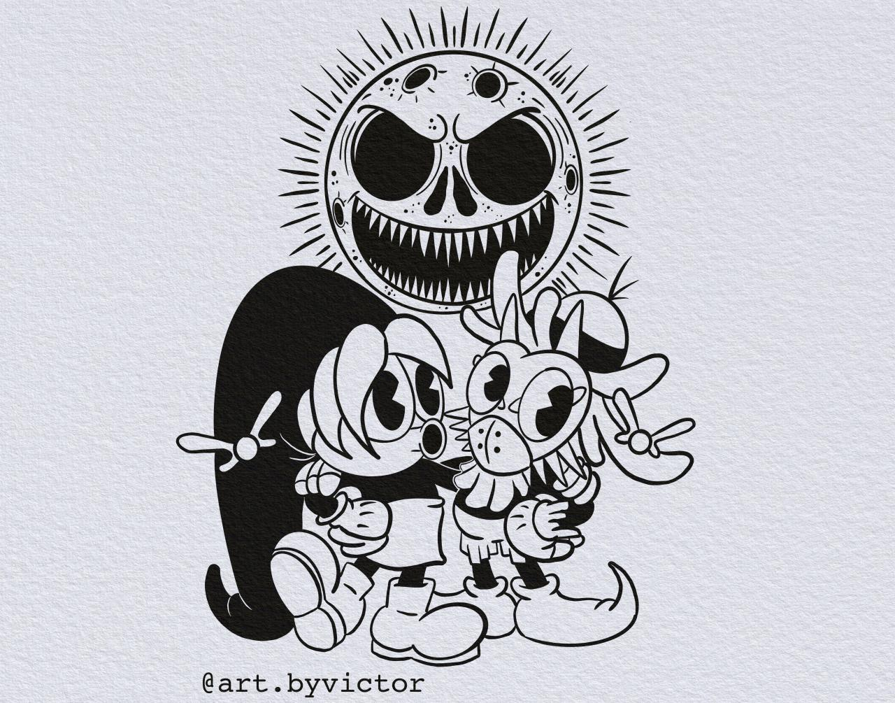 This is from u/Sloaking's r/DrawMyTattoo request. Deku Link and Skull Kid in a rubber hose style (: