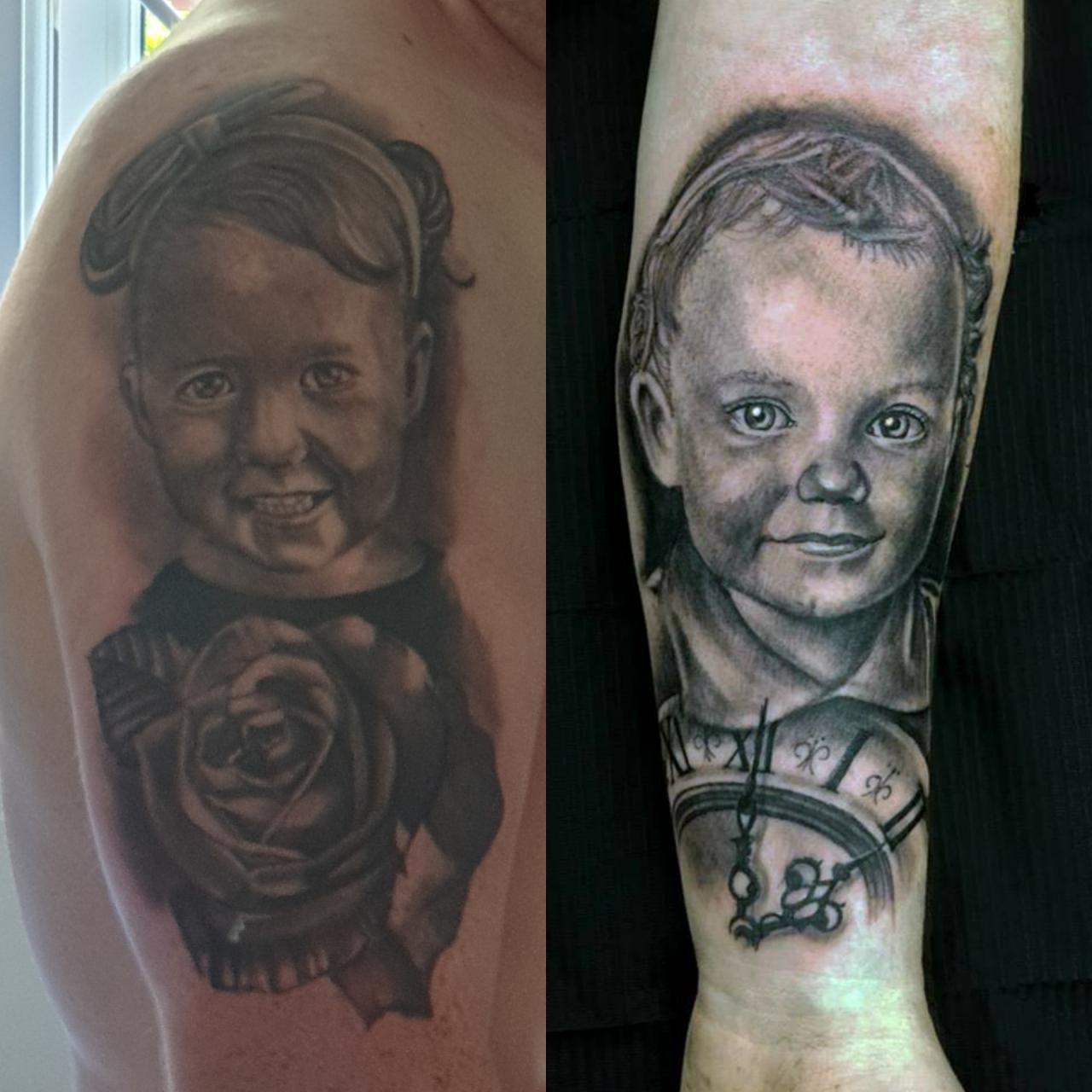 My little boy done around 6 years ago and my little girl done 1 day ago. Both on the same arm by Nigel Kurt, Funhouse Studio, Barnsley, UK.