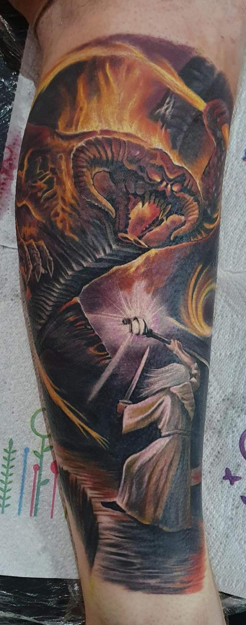 Start of a lotr themed leg sleeve, done in one sitting at sakura newcastle, uk.