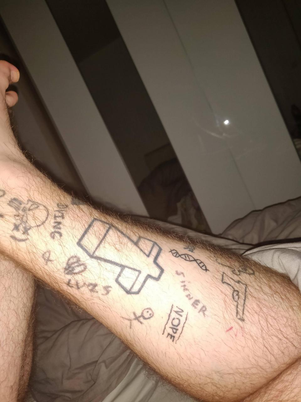 I have a shitty tattoo leg made mostly by myself. Give me ideas and also if you're in Paris you can tattoo me. I can send more pics if dm