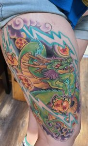 Shenron, start of my big dbz leg project, by Serina at Metamorphosis Tattoo, Lyons CO