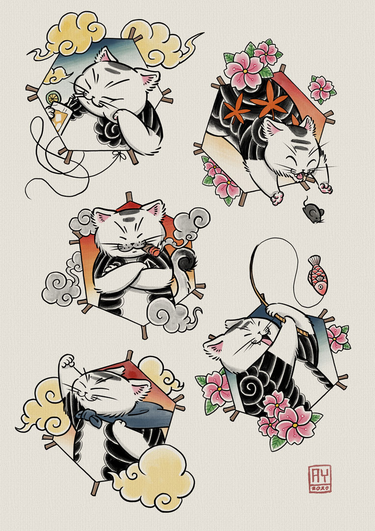 Recent flash sheet that I made. Cats and kites :)