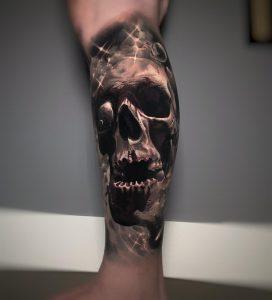 Cosmic skull leg sleeve done by Ivanka at Crossed Keys Society in Ft Lauderdale, FL