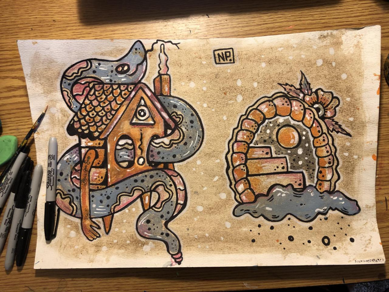 Coffee stained watercolor paper acrylic and sharpie. @nomadicplains