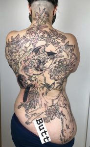 16 hrs of progress, about 48 to go. Friendly fox back piece by Kelsey Ellis @ Honey Basil Tattoos, Kingston, Ontario.