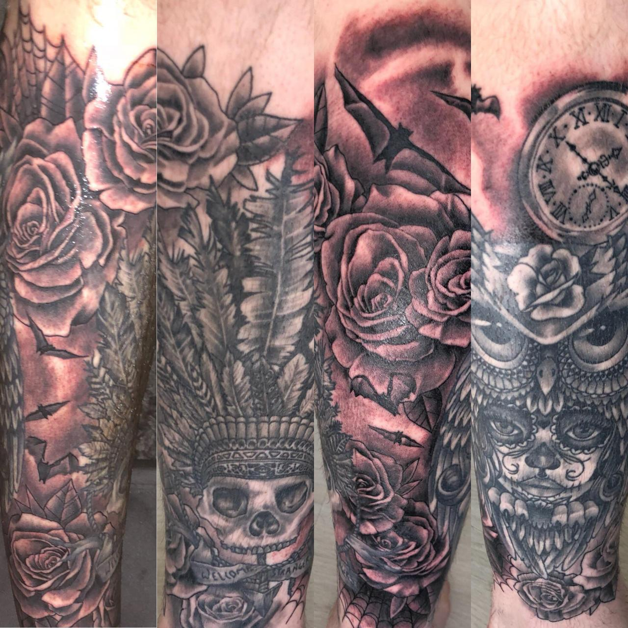 Black and grey half leg sleeve. Made by Linda at Miks Tattoo, Copenhagen Denmark