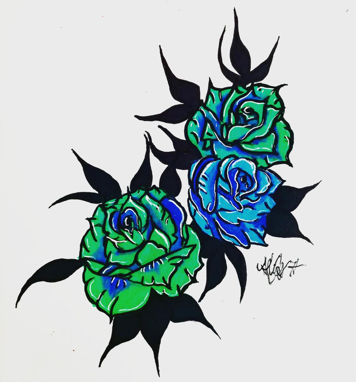 Green and blue roses.