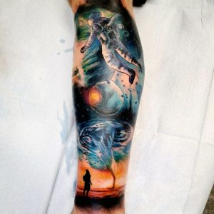 First 8 hr session of my galaxy themed leg sleeve complete. Nicole Szegda at Rising Sparrow Tattoo in Asheville, NC.
