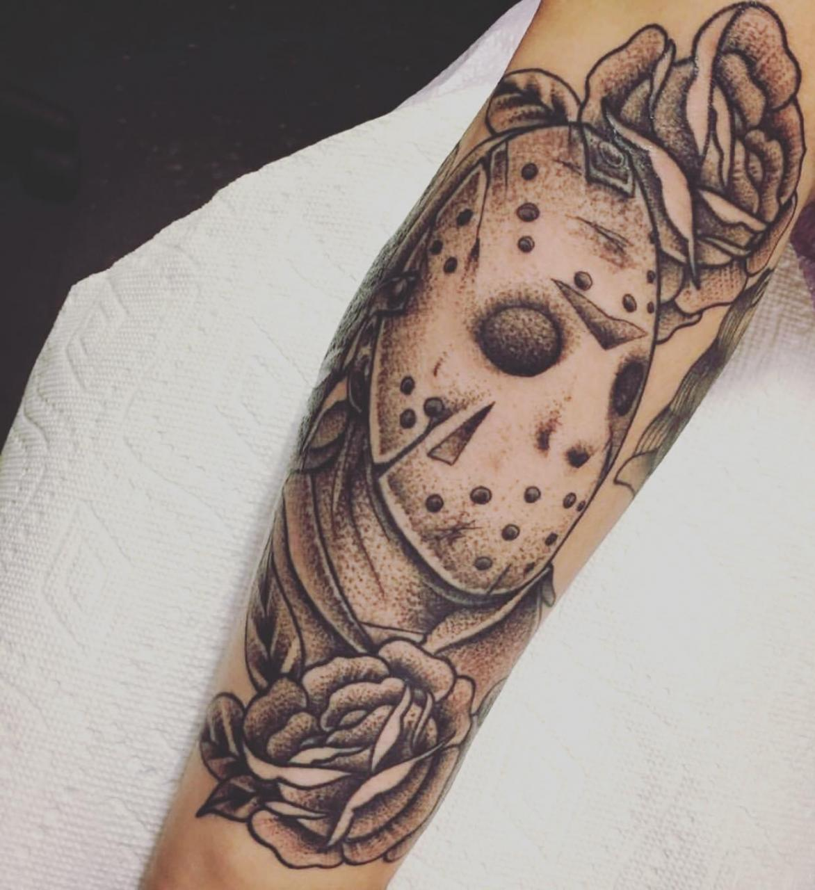 🍂Anyone into horror tattoos? This is a Jason piece I got done 🍂