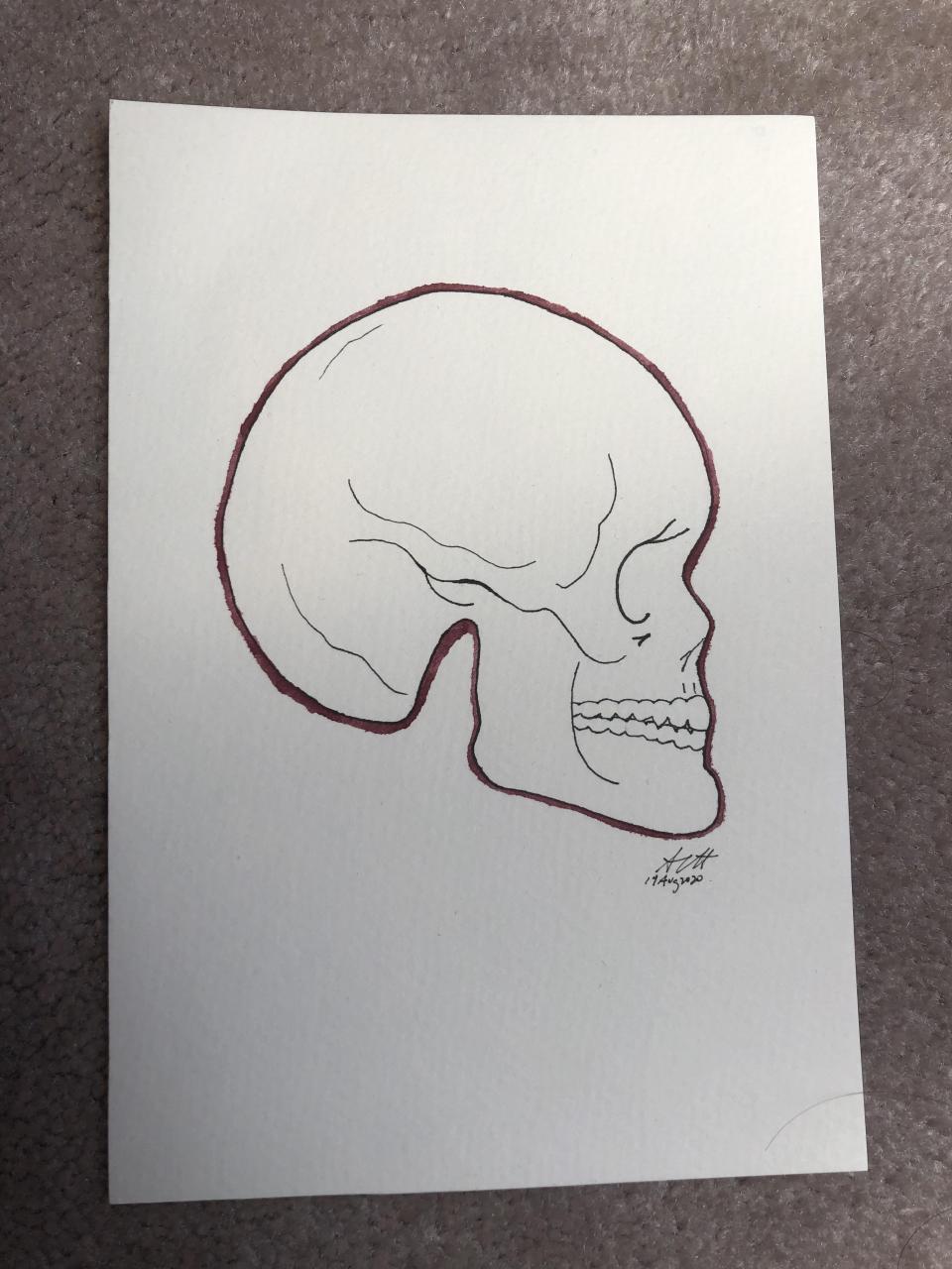 Minimalist skull with outline [OC]