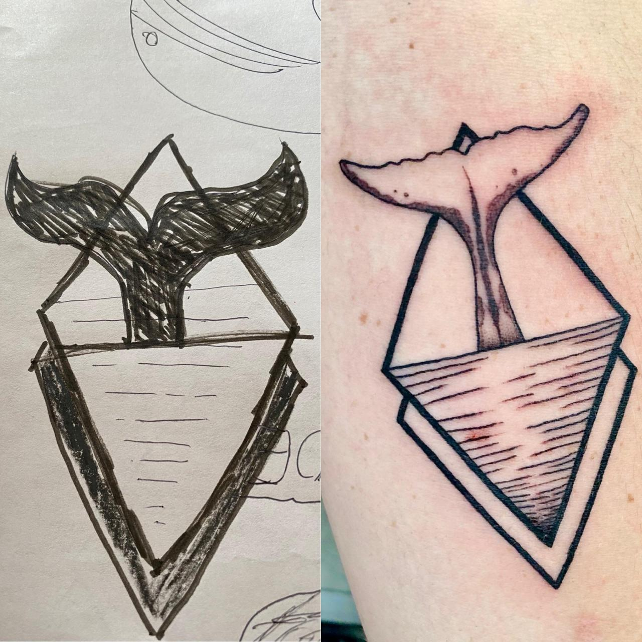 My sketch vs. the finished product. Very excited to see my crude vision brought to life so nicely in my first tattoo. I chose a whale, after my son Jonah. Done by Russel at The Blackest Crow.