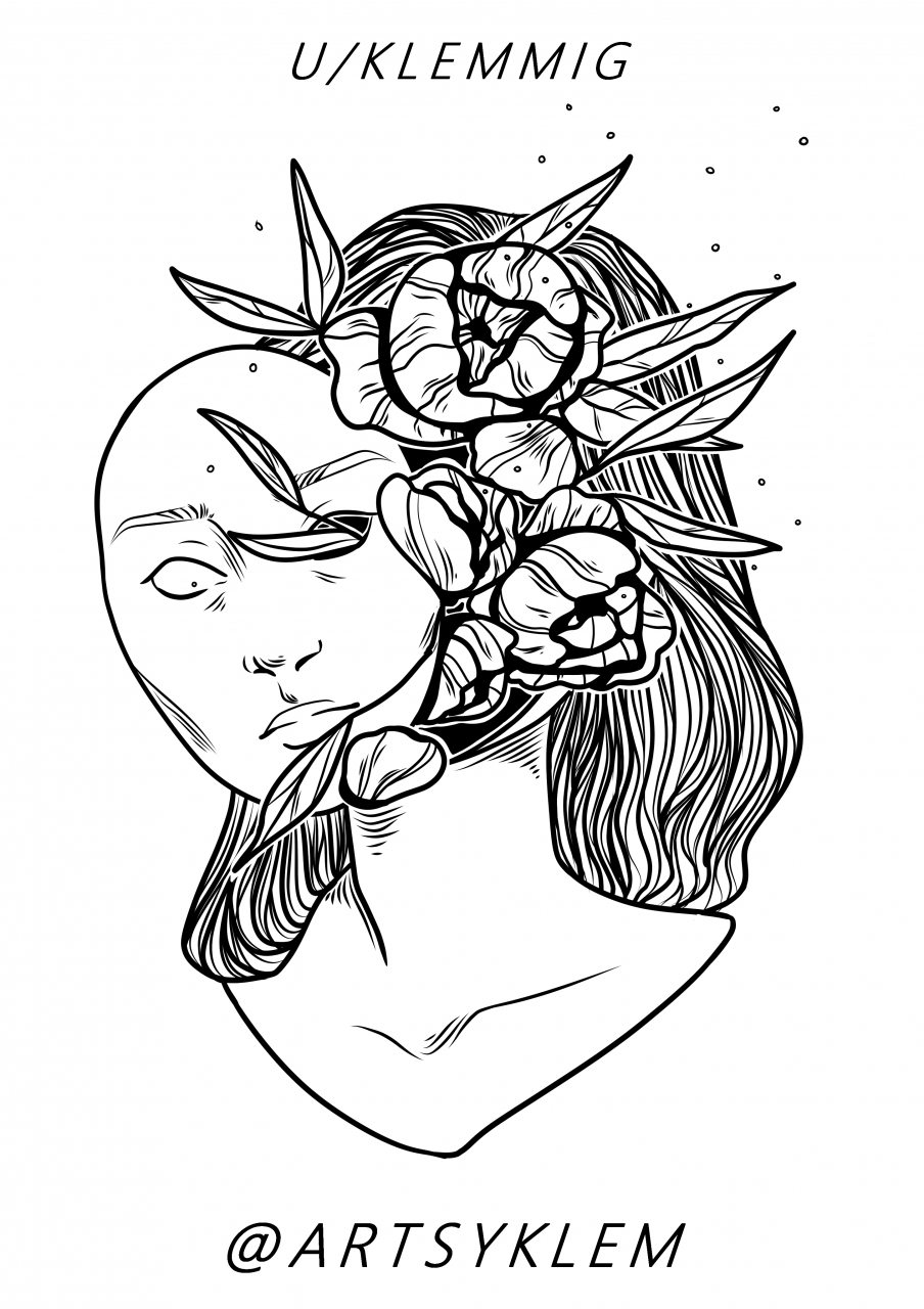 Flower Lady for portfolio, would love some criticism<33