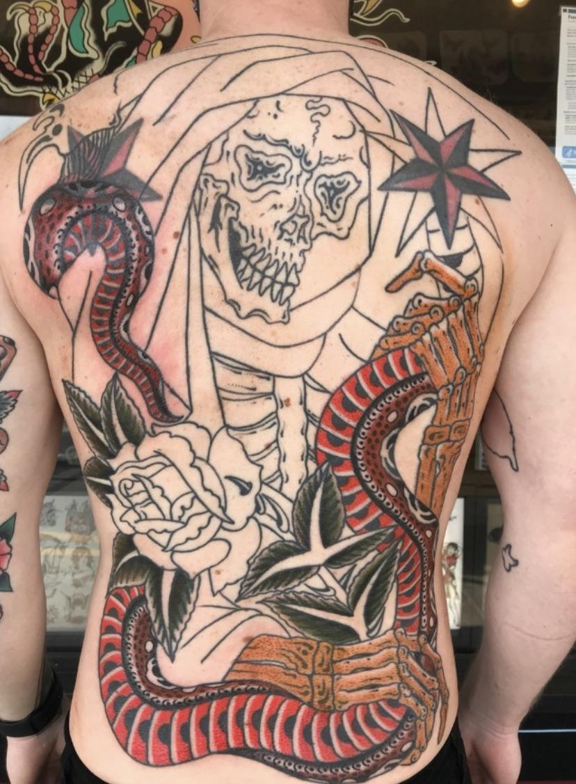 First round of color on my back by Ryan Arnold of Red Thorn Tattoo