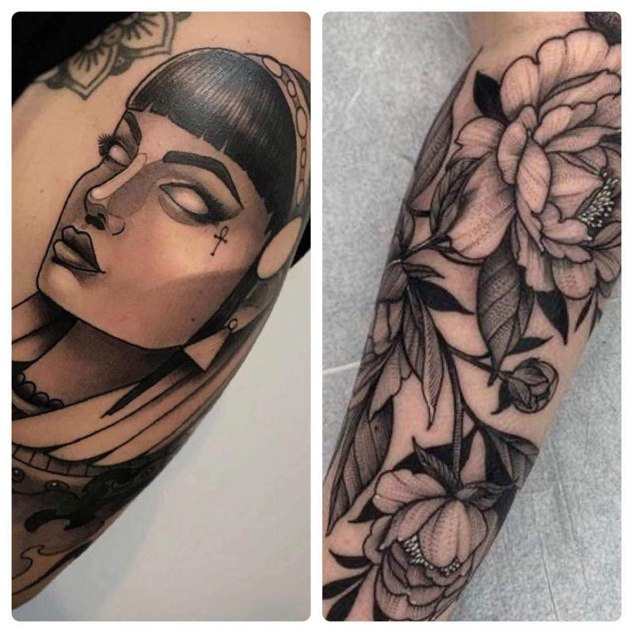 I'm wanting a full arm sleeve incorporating something similar to these two. Like cleopatra on my bicep and the rest a floral design. Would this look okay? Obviously I'm not going to copy another artists design, I'm just looking to get something along the same lines. I'm open to any suggestions ☺️