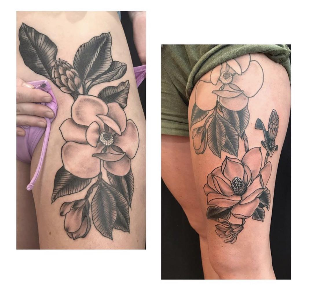 Done by Samantha Roberts at MotherOcean Studio in Gulfport, FL. Got these magnolias as a tribute to my hometown that was ripped to shreds by hurricane michael. Originally got the top half done as a coverup of an alien head. Couldn't resist going back for more!