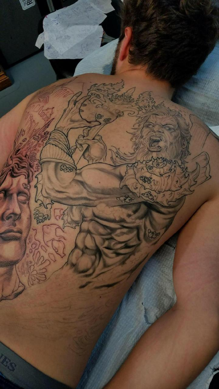 """Been working on my back lately. """"Casey"""" at """"Royal Avenue Tattoo"""""""