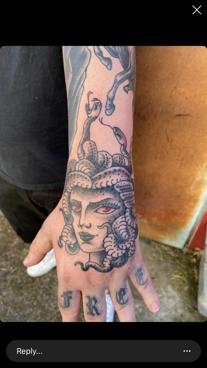 My Medusa hand piece from a few months back. Done by Josh @ brainstorm tattoo in Fayetteville, AR