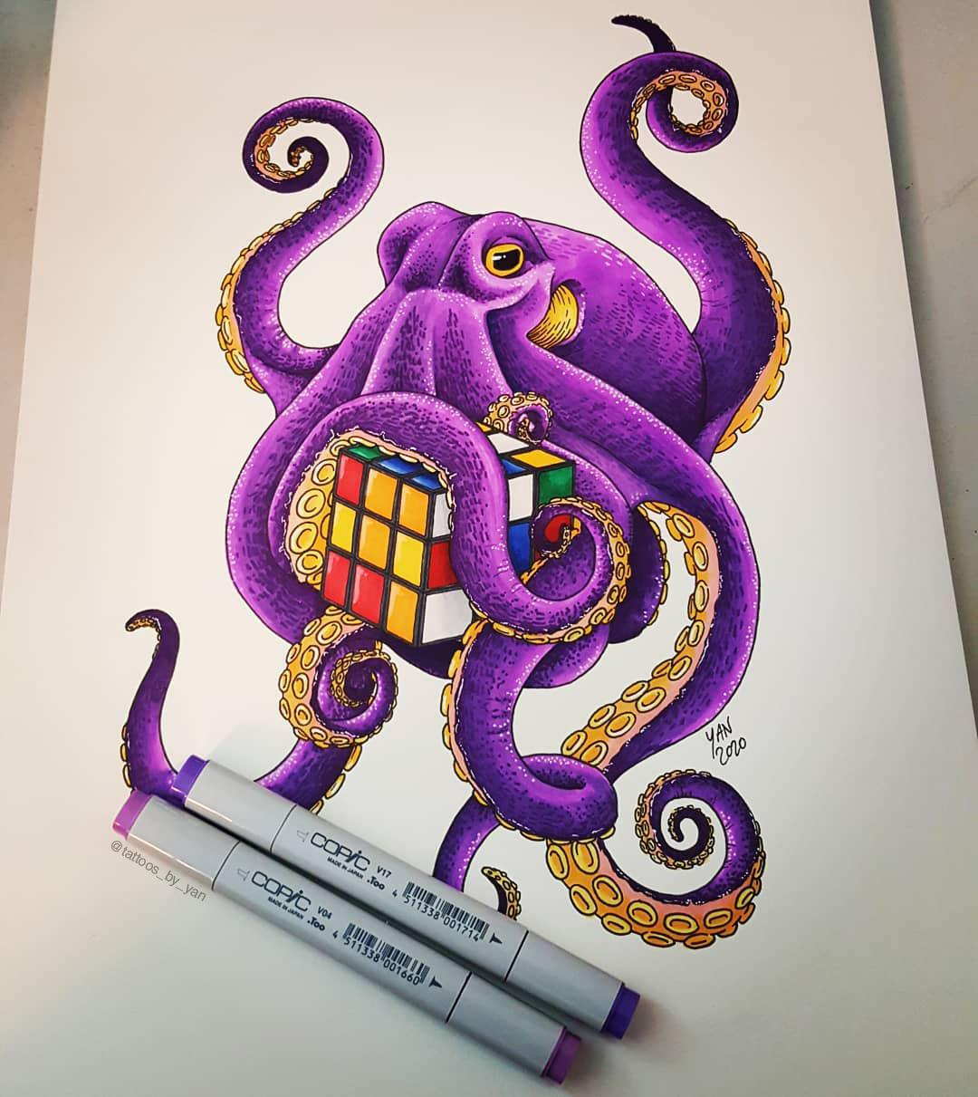 Octopus with a Rubik's cube