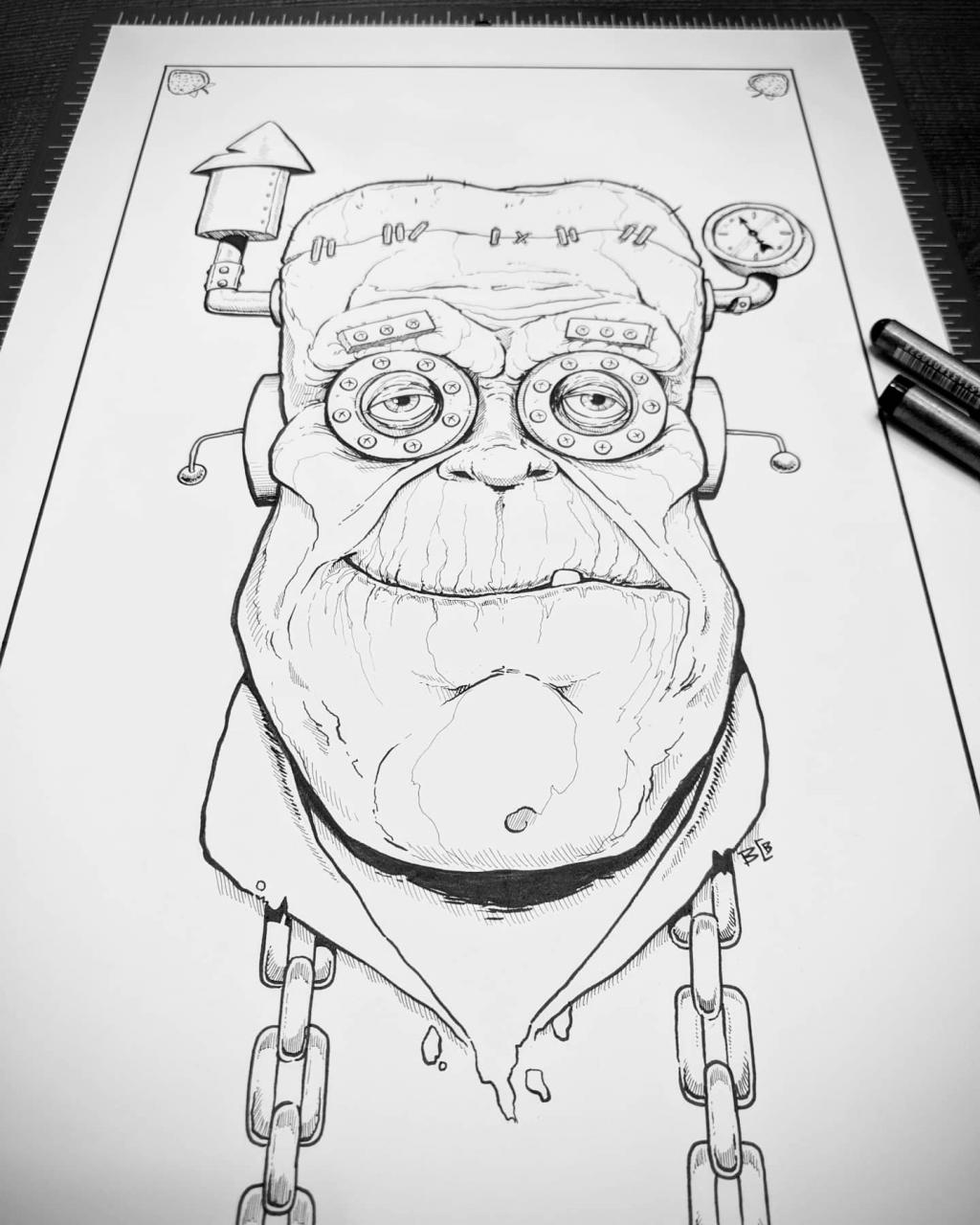 Finished line work on Mr. Franken Berry. (IG Mr.Grumble_Art) 🍓
