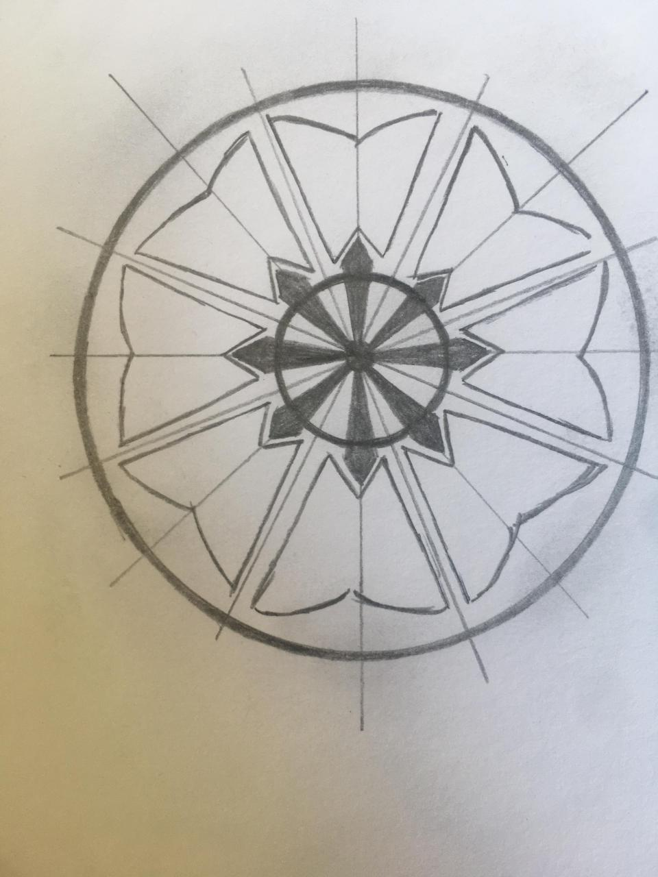 Looking for help in order to make this design completely geometrically balanced - order of the white lotus from ATLA with the eightfold path in the middle (lines are just scaffolding and don't need to be included on final design)