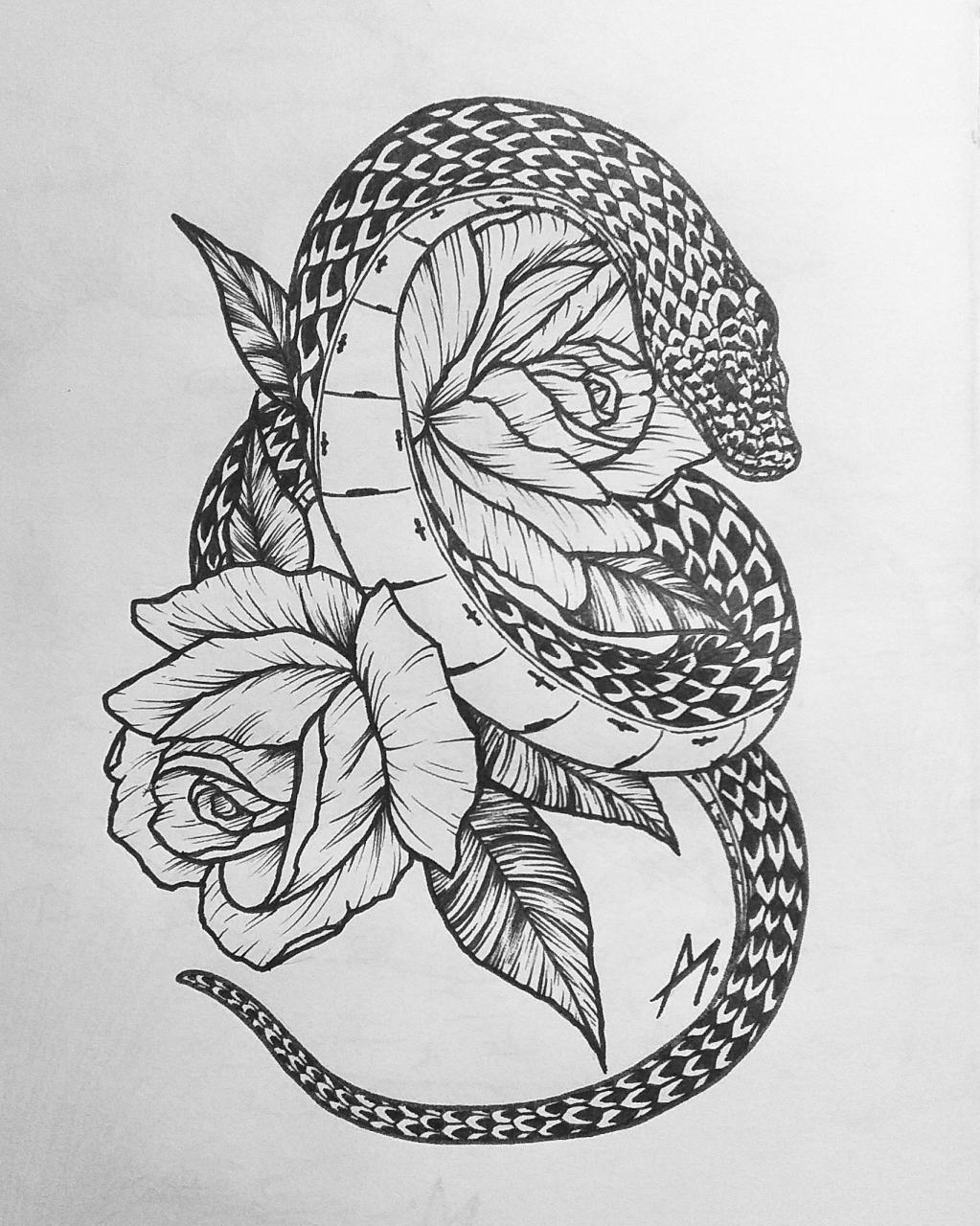 One of my latest artworks for maybe a future tattoo. Dangerous Nature, Me, nanquim, 2020.