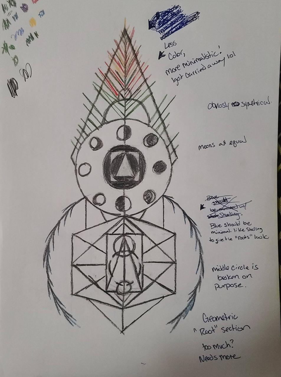 """Couldn't sleep so I drew up something I've want to get soon! I'm going for a minimalistic but layered feel. Similar too the first one I have (in comments.) Its supposed to be a combination of the World Tree, the phases of the moon, and a splash of """"sacred"""" geometry. Any ideas or suggestions? Thnx."""