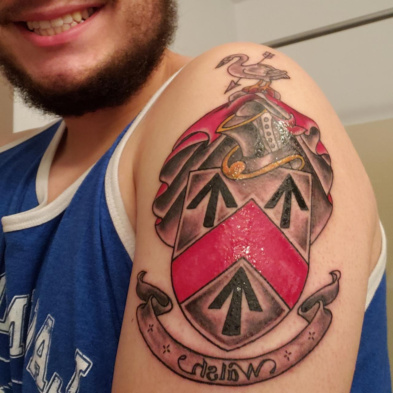 Family coat of arms tattoo done by Jeremie James at the family tradition tattto parlor in Puyallup Washington!
