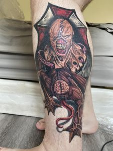 I got this Resident Evil piece Back in May 2020 by founder Dino at justpeachytattoos in Broken Arrow Oklahoma.