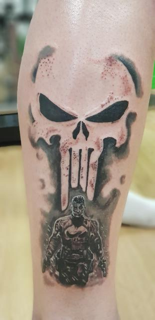 My Punisher leg peice. Done by Alex Brown @ Mark'd with Ink, UK