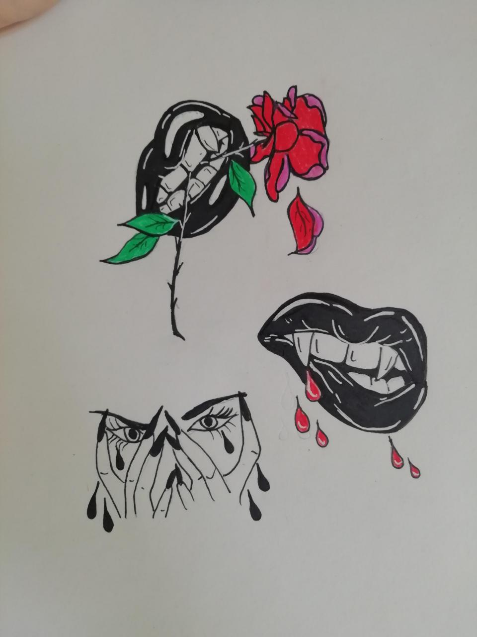 Rose, lips, eyes & fangs. Feedback?