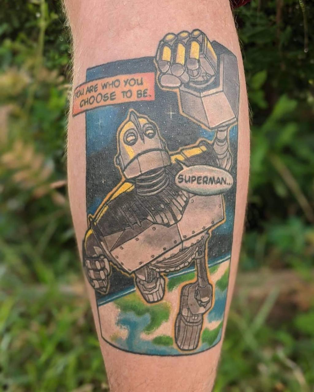 """Iron Giant"" comic inspired leg piece by Zac Kinder of Main Street Tattoo in Mauldin, SC"