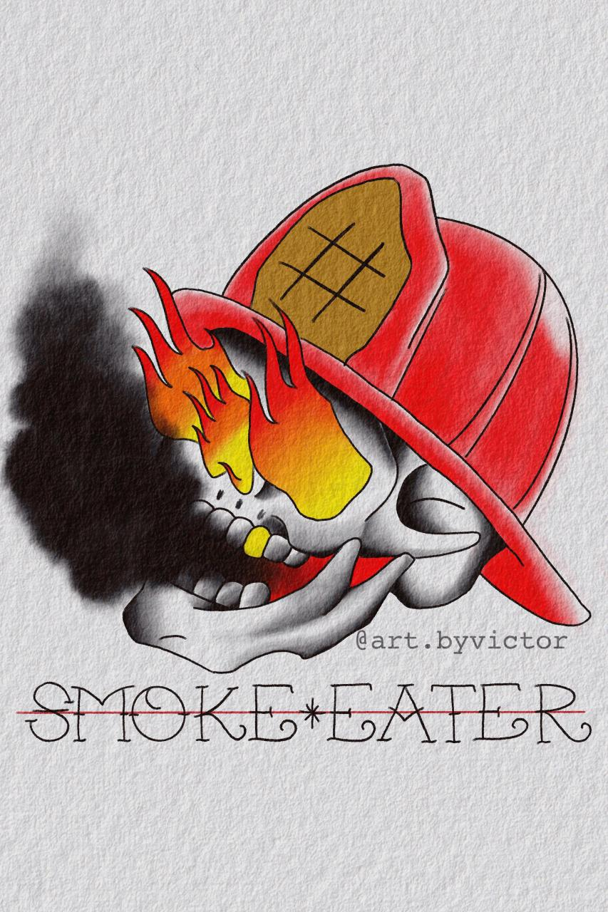 "Firefighter Design for u/S4yMyN4me from his r/DrawMyTattoo request. ""Smoke Eater"""