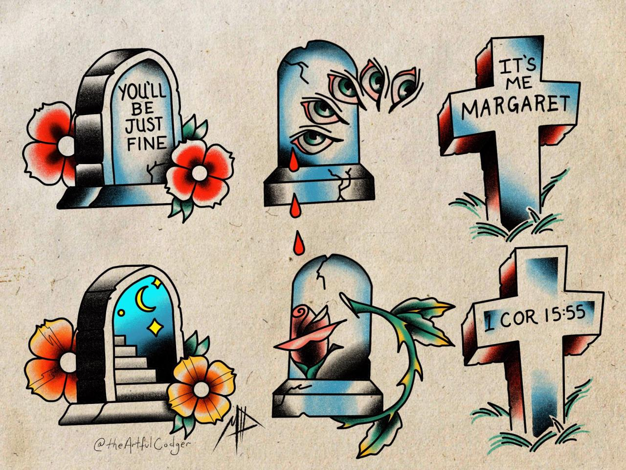 Some (mostly) trad gravestones I drew up yesterday. Getting to tattoo the you'll be fine next week! Check out more art and tattooing on IG @theartfulcodger