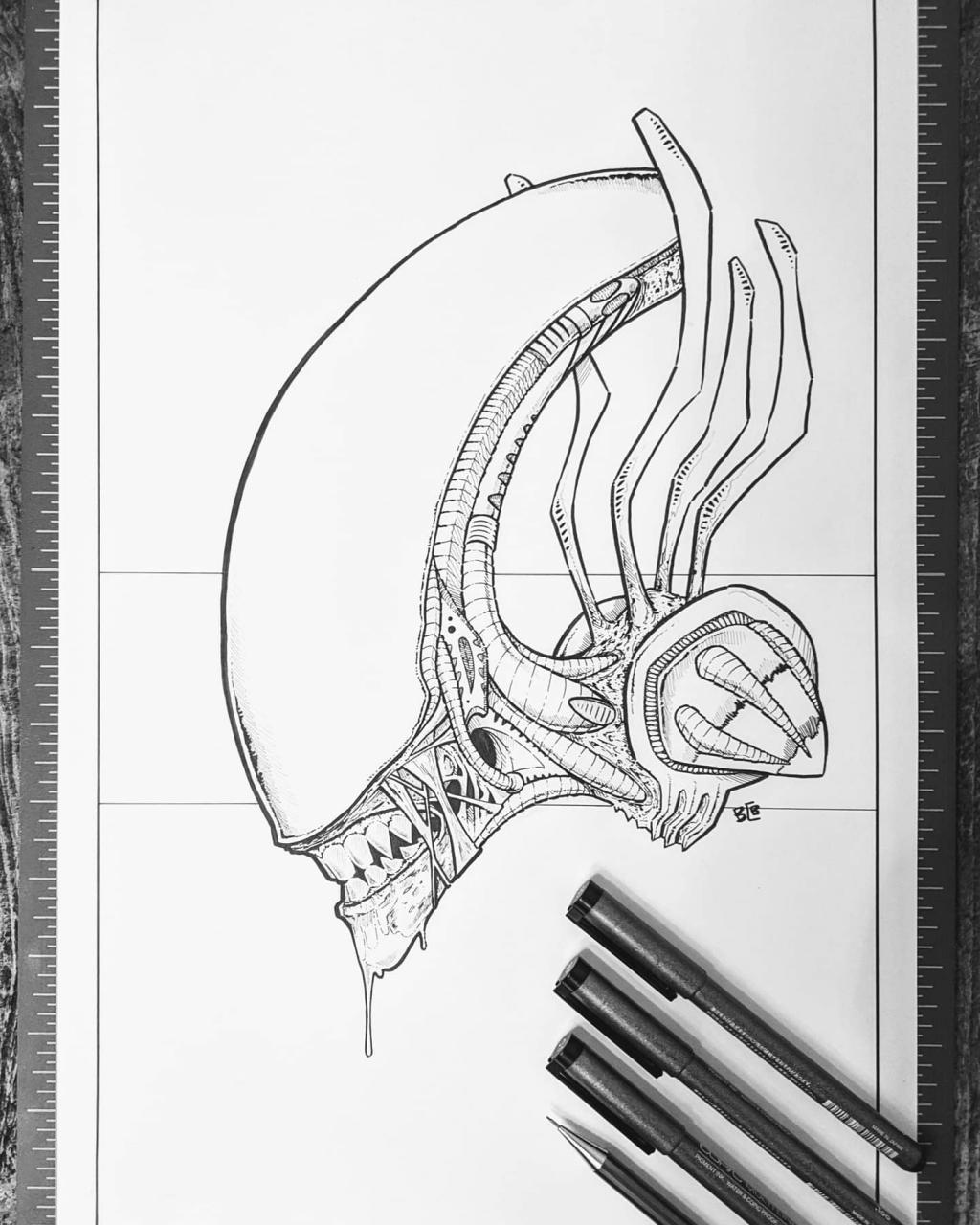 Not originally planned as a tattoo but thought I'd throw it on here anyway. Xenomorph from Alien with Copic multiliners. You can't run, so don't even try. More on IG @Mr.Grumble_Art.