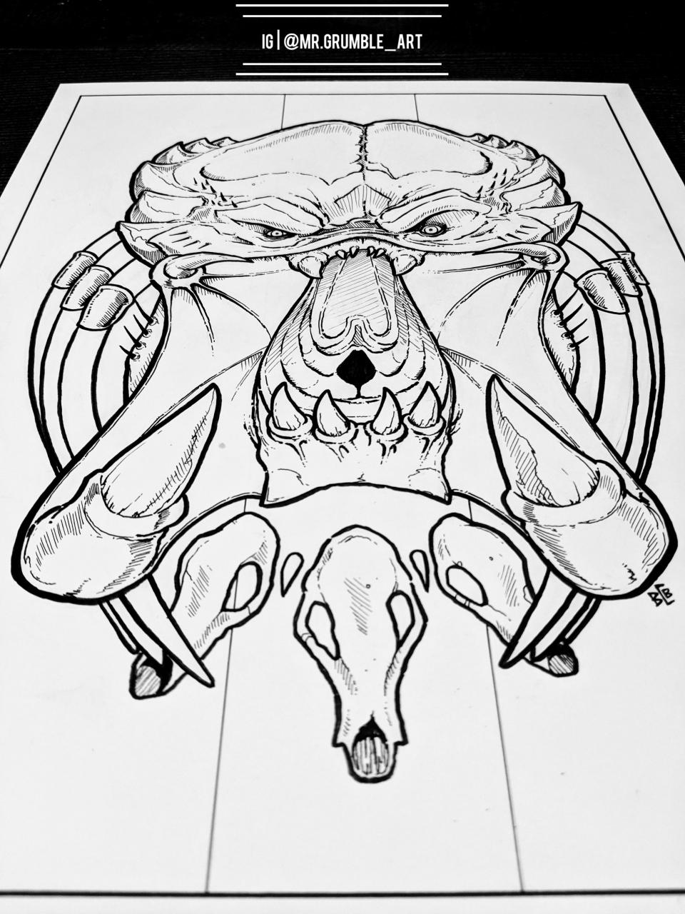 Predator tattoo concept. Hope you like it! IG @Mr.Grumble_Art. 🤘