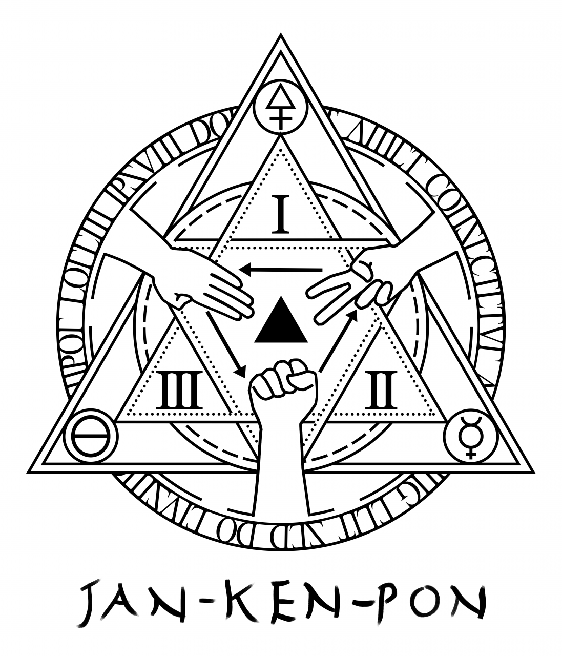 I'm really loving alchemical circles at the moment so here's my latest design: Jan-Ken-Pon