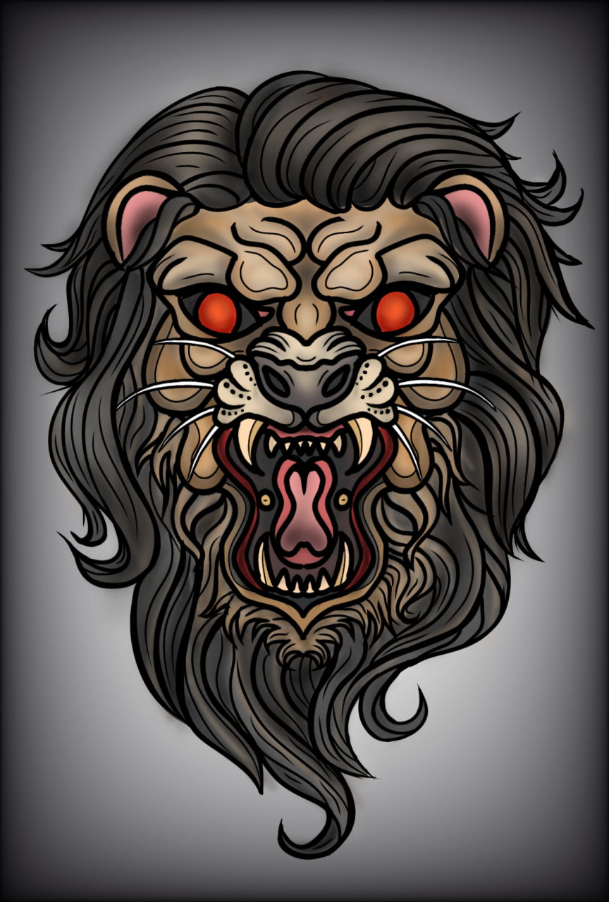 Neo-traditional style lion head design i did recently