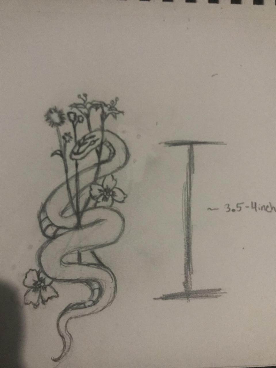A quick sketch of a tattoo idea I have, any constructive advice is welcomed. Also, is it readable for around the size I want? (3.5/4inches)