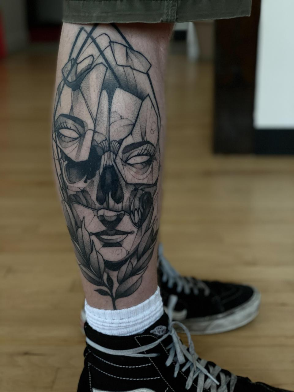 Healed calf piece done by Max LaCroix at Akara Arts in Milwaukee, WI