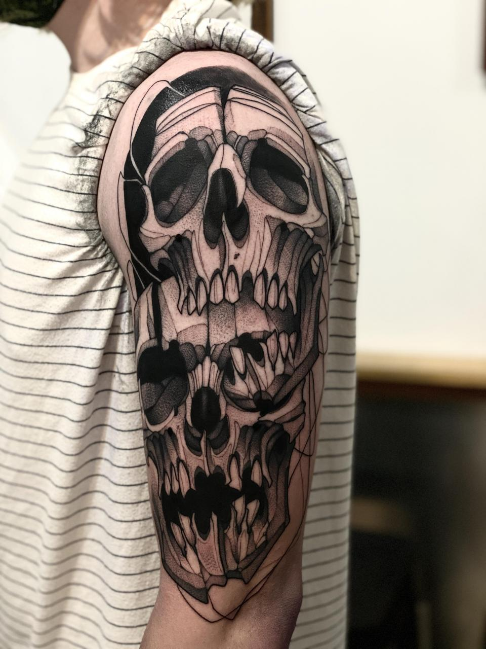 Skull shoulder piece done by Max LaCroix at Akara Arts in Milwaukee, WI
