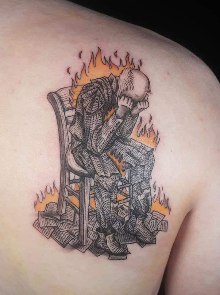 Mash-up of cover art from Fahrenheit 451 and a piece by Van Gogh - by Woodrow Wilson Cowher at Bulldog Custom Tattooing in East Palestine, OH